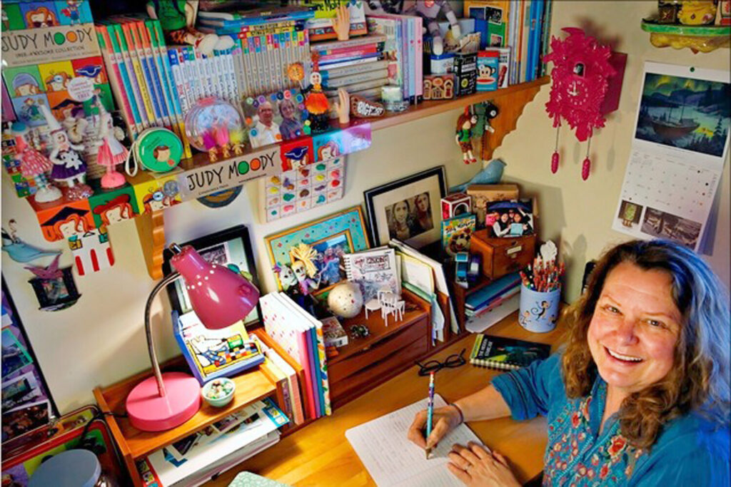 Megan McDonald, author of the Judy Moody and Stink book series, at her writing desk at home in California.