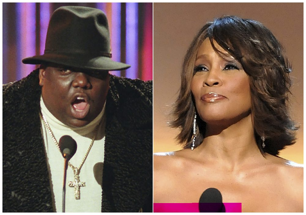 This combination photo shows Notorious B.I.G., who won rap artist and rap single of the year, during the annual Billboard Music Awards in New York on Dec. 6, 1995, left, and singer Whitney Houston at the BET Honors in Washington on Jan. 17, 2009.
