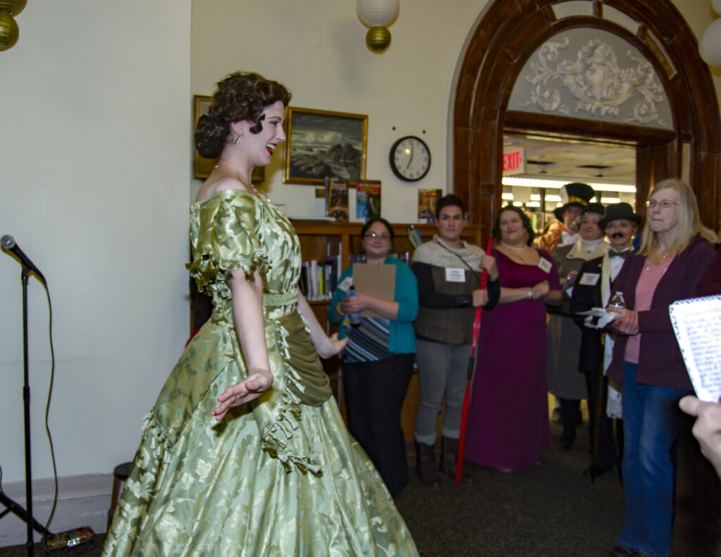 Bee Tyler at the 2018 Waterville Public Library Nosh & Knock Off event.
