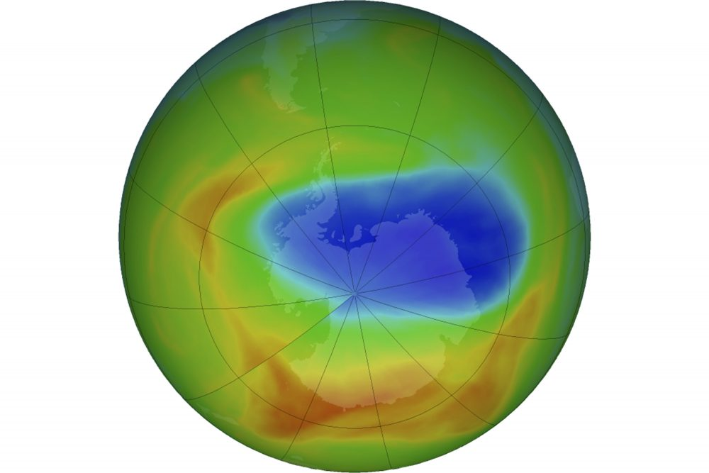 A map of a hole in the ozone layer over Antarctica on Sunday. The purple and blue colors indicate the least amount of ozone, and the yellows and reds show the most. In October 2019, NASA says the ozone hole near the south pole this year is the smallest since it was discovered.
