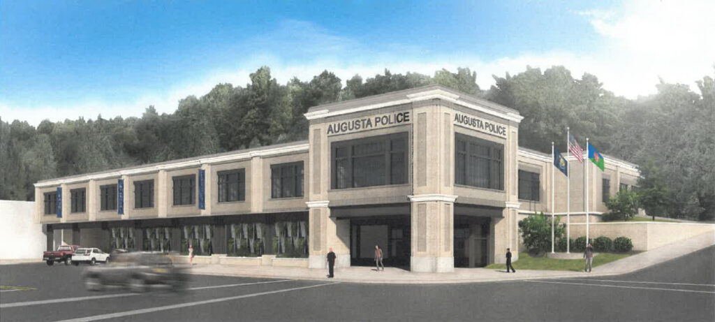 A rendering of what a proposed Augusta Police station could look like if it was built on Water Street. The rendering was shown as part of a presentation by a pair of firms, Artifex Architects and Engineers and Manns Woodward Studios.