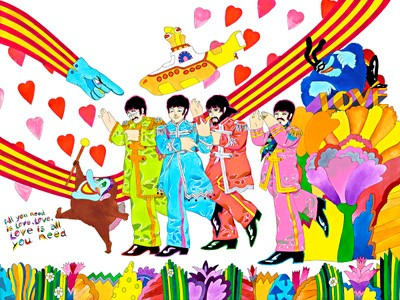 "A painting by Ron Campbell based on the film ""Yellow Submarine,"" which he worked on."