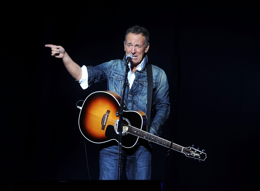 "In this Nov. 5, 2018 file photo, Bruce Springsteen performs at the 12th annual Stand Up For Heroes benefit concert at the Hulu Theater at Madison Square Garden in New York. Springsteen surprised moviegoers by introducing his new concert film in his New Jersey hometown. The Asbury Park Press reports Springsteen introduced two showings of ""Western Stars"" at the AMC Loews Freehold Metroplex Cinema in Freehold on Saturday, Oct. 19, 2019."