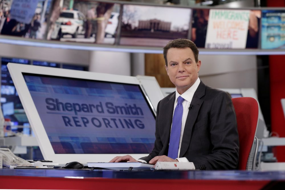 "In this Jan. 30, 2017, file photo, Fox News Channel chief news anchor Shepard Smith appears on the set of ""Shepard Smith Reporting"" in New York."