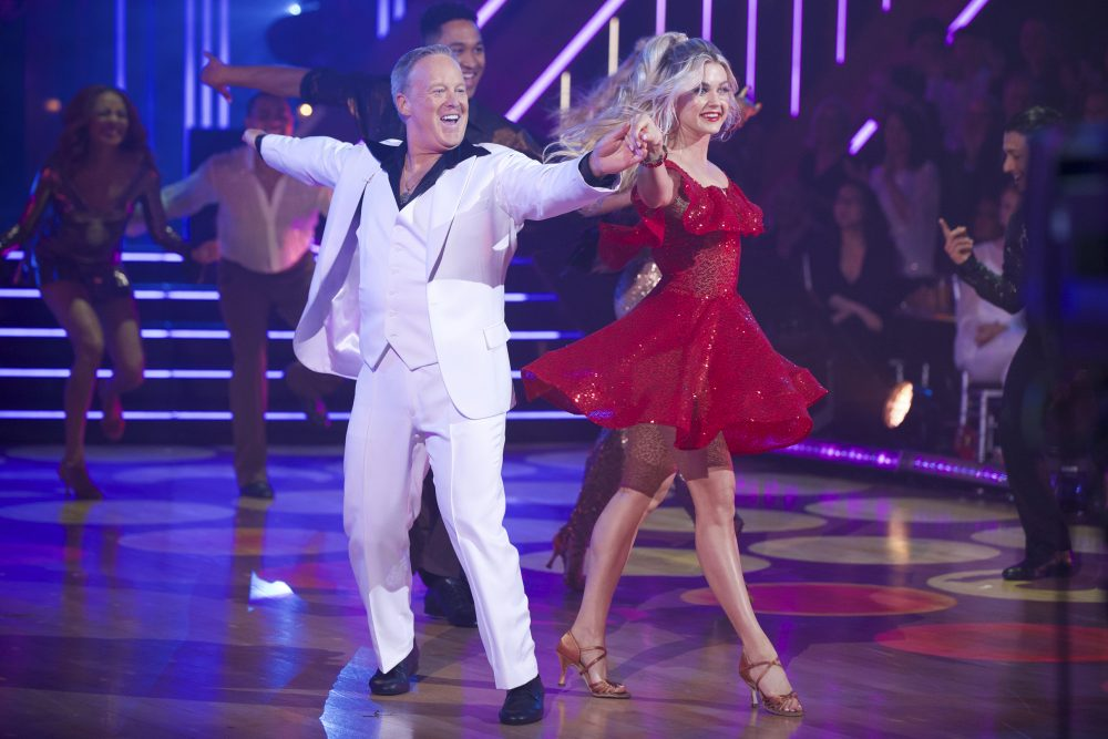 "This Sept. 30, 2019 photo released by ABC shows former White House press secretary, Sean Spicer, left, and Lindsay Arnold during the celebrity dance competition series ""Dancing With the Stars,"" in Los Angeles."