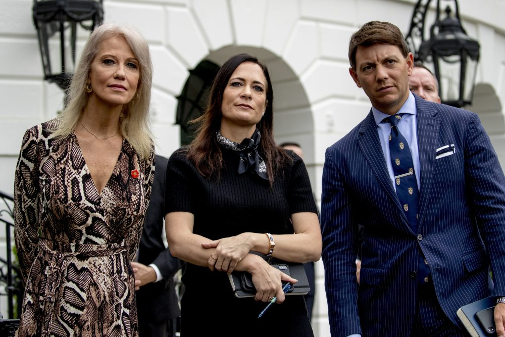 Counselor to the President Kellyanne Conway, White House press secretary Stephanie Grisham, and Deputy White House press secretary Hogan Gidley at the White House on Oct. 3.