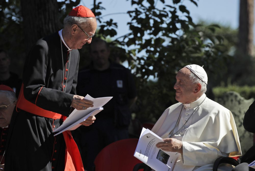 Cardinal Claudio Hummes shares a word with Pope Francis on the occasion of the feast of St. Francis of Assisi, the patron saint of ecology, in the Vatican gardens on Friday.
