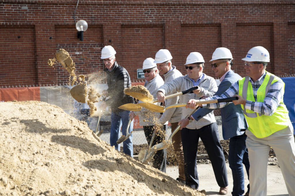 Developers and others break ground on a new hotel on Commercial Street in Portland on Friday. From left, are Greg Mitchell, city of Portland; Dennis Ruppel, Jim Brady and Chris Ruppel from Fathom Cos.; Gary Steffen, Canopy by Hilton; and Jonathan Dicentes, Cianbro Corp. The hotel is slated to open in the spring of 2021.