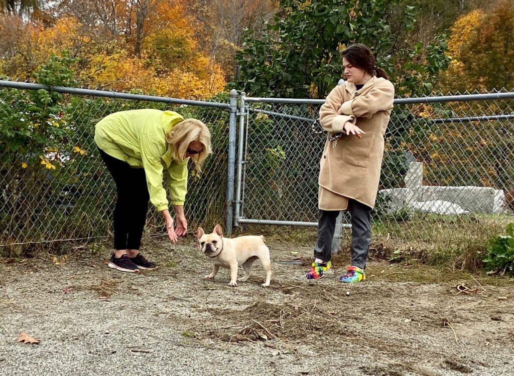 Jane Lincoln, left, reaches for Tootsie while Bethany Lund, the dog's owner, looks on Oct. 25 in Hallowell.