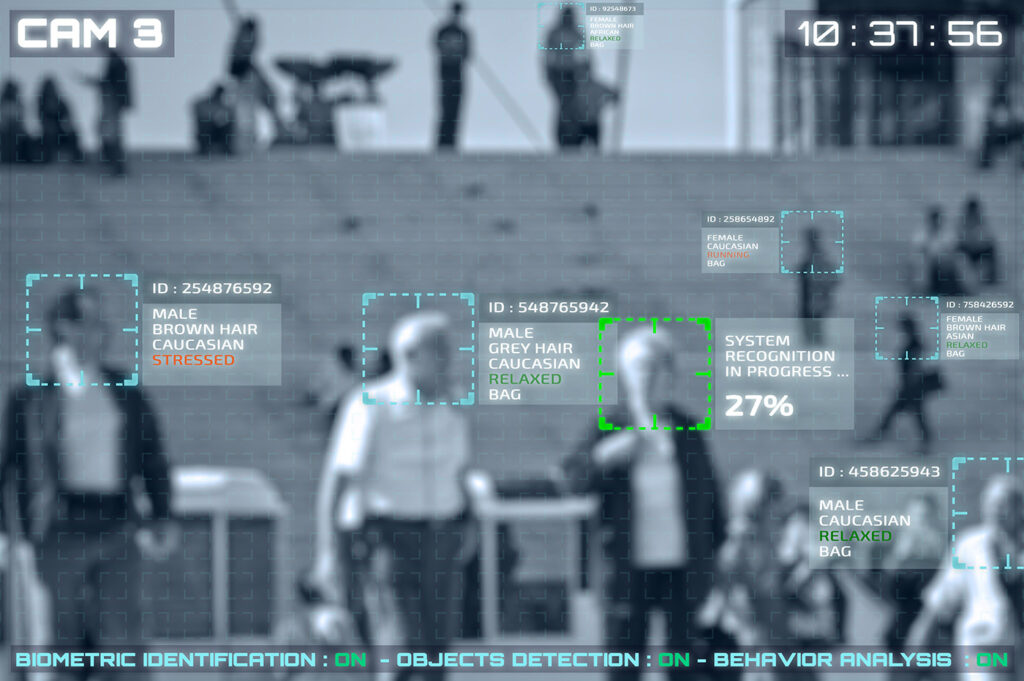 Illustration of a CCTV camera screen with facial recognition.