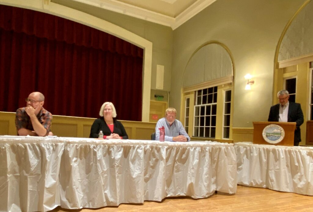 City Council candidate Matthew Radasch, left, Ward 3 Council Candidate Diana Scully, Councilor-at-Large George Lapointe and Mayor Mark Walker listen to a question during Monday's forum at Hallowell City Hall.