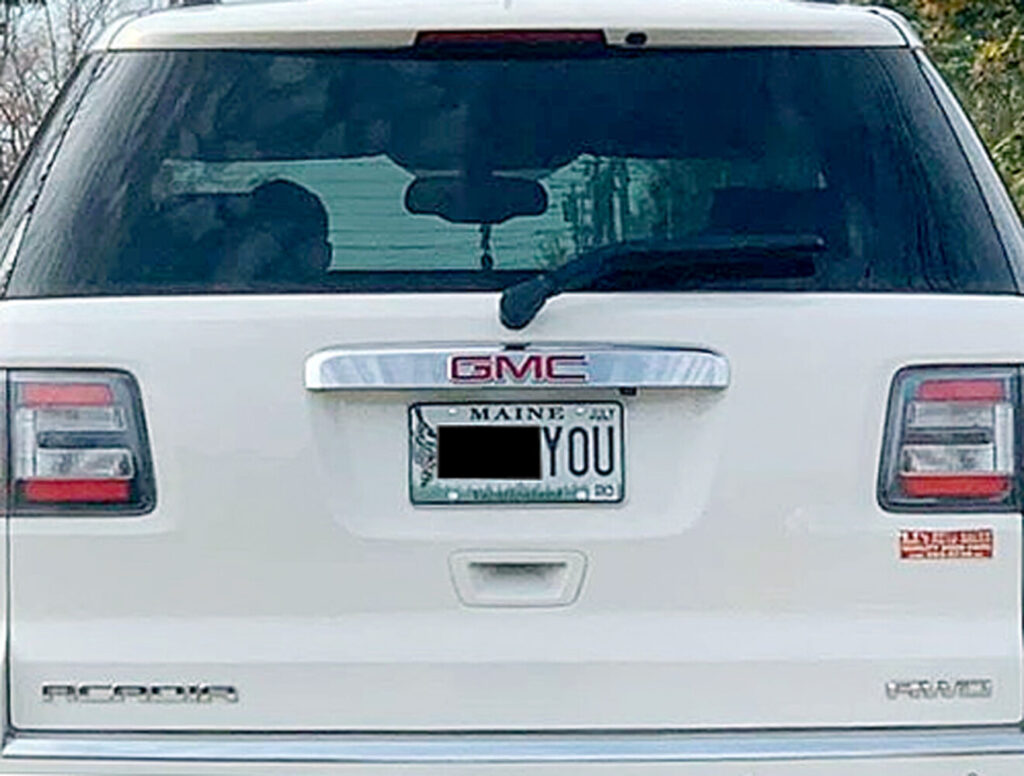 "In 2019, Derek Volk took a photo of the  license plate on the vehicle in front of him, showing an expletive (we have blacked out the first word).  ""How did the state allow this on a license plate and who would put this on their car?"" he wrote on a public Facebook post."