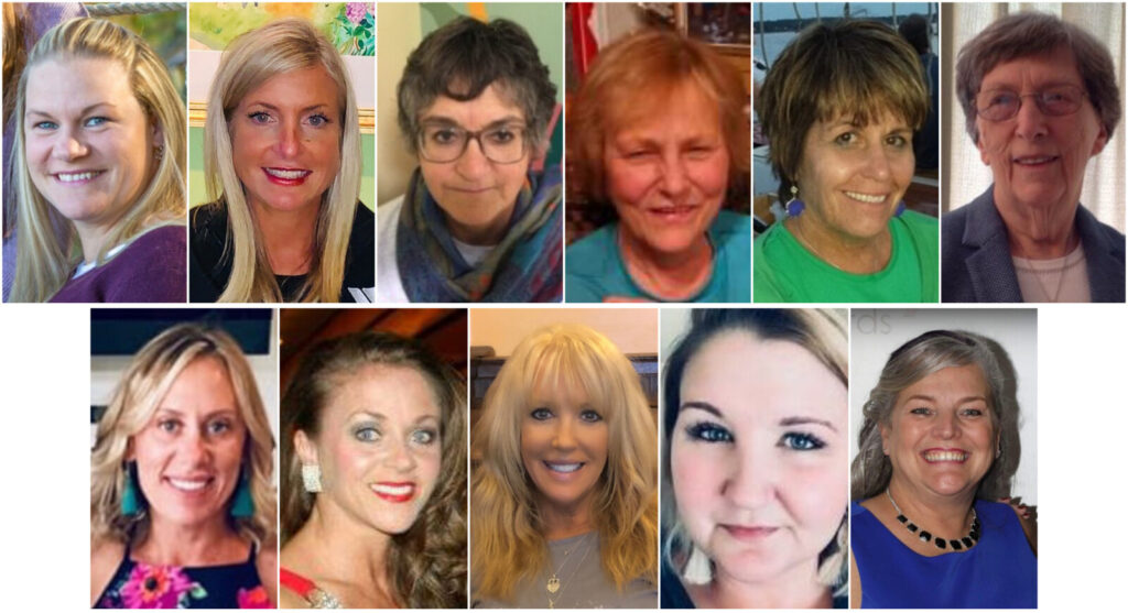 Top from left are Joni Gordon, Meghan Hamblett, Jean Higgins, Nancy Lessard, Julie O'Brien and Patricia Perkins. Bottom from left are Adrian Phair, Rebecca Pushard, Jennifer Weymouth Richards, Erika Sawtelle and Lisa Wardwell. Not pictured are Olga Babb, Jessica Desjardins, Martha Everatt-St.Pierre, Laura Murphy and Dory Anna Richards Waxman.