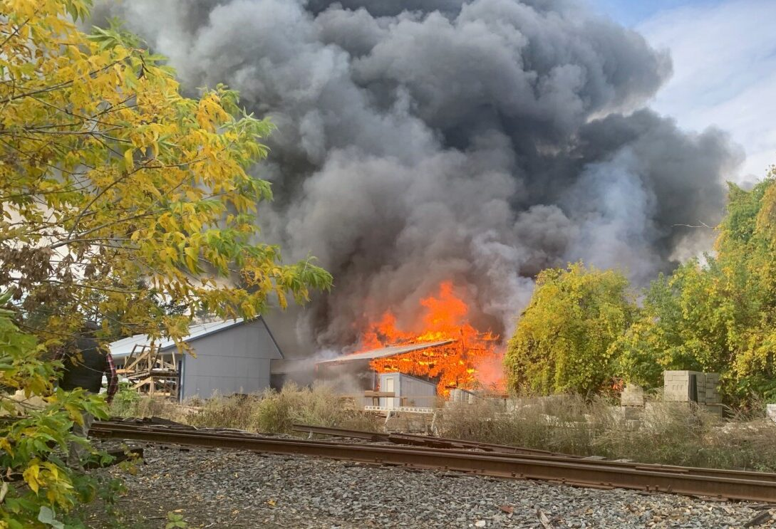 Crews respond to large structure fire at Winslow building supply facility - CentralMaine.com