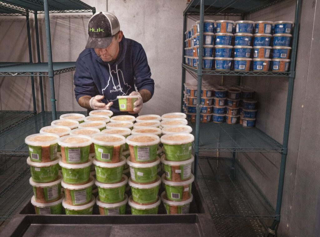 """Scott Walton stacks containers of Plucked salsa on shelves in the walk-in cooler at Fork Food Labs in Portland on Monday. Plucked comes in three varieties: """"purely,"""" without hot spices, """"mildly,"""" a medium spice, and """"sinfully,"""" a fairly hot version."""