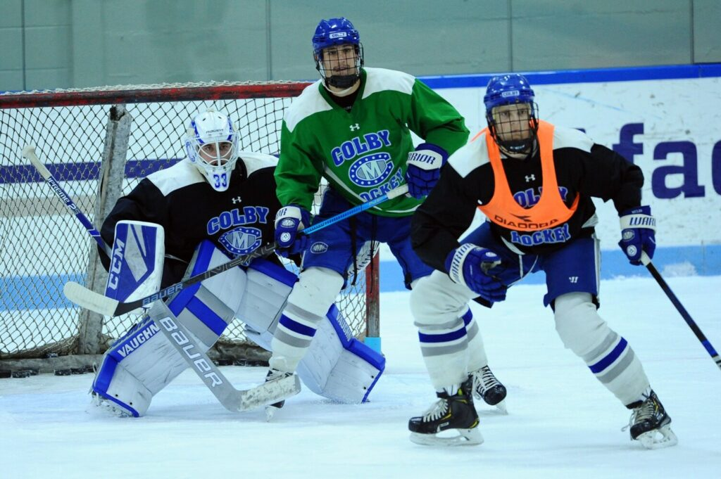 The Colby College men's hockey team works through drills last week at Alfond Rink in Waterville.
