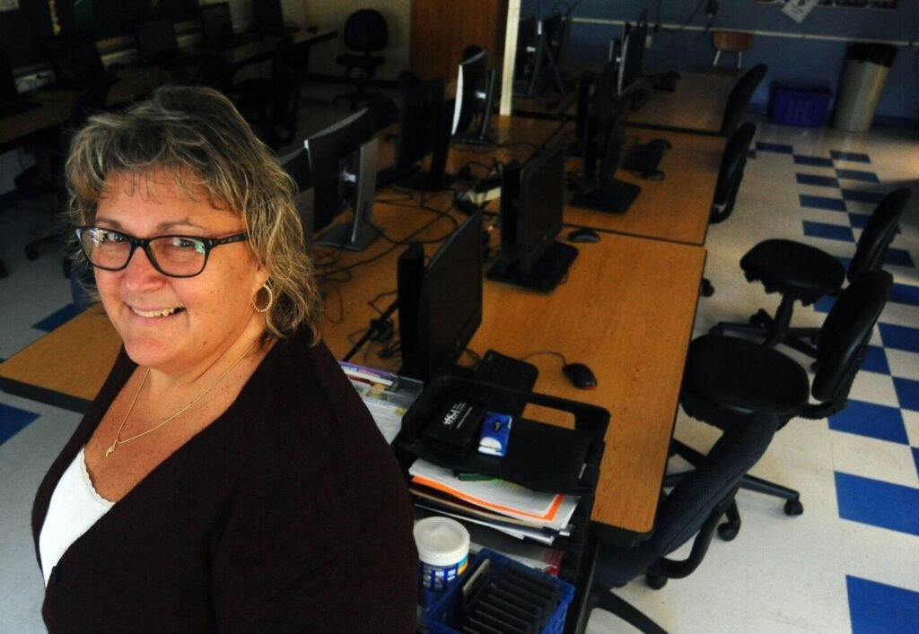 Madison Area Memorial High School teacher Raelene Allen, in her classroom on Wednesday, was named one of two Maine Jumpstart Coalition educators of the year. Allen teaches financial education.