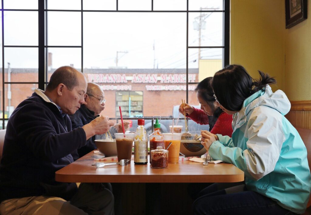The Yeung family of Lewiston dines at Sun Vietnamese Restaurant in Woodfords Corner.