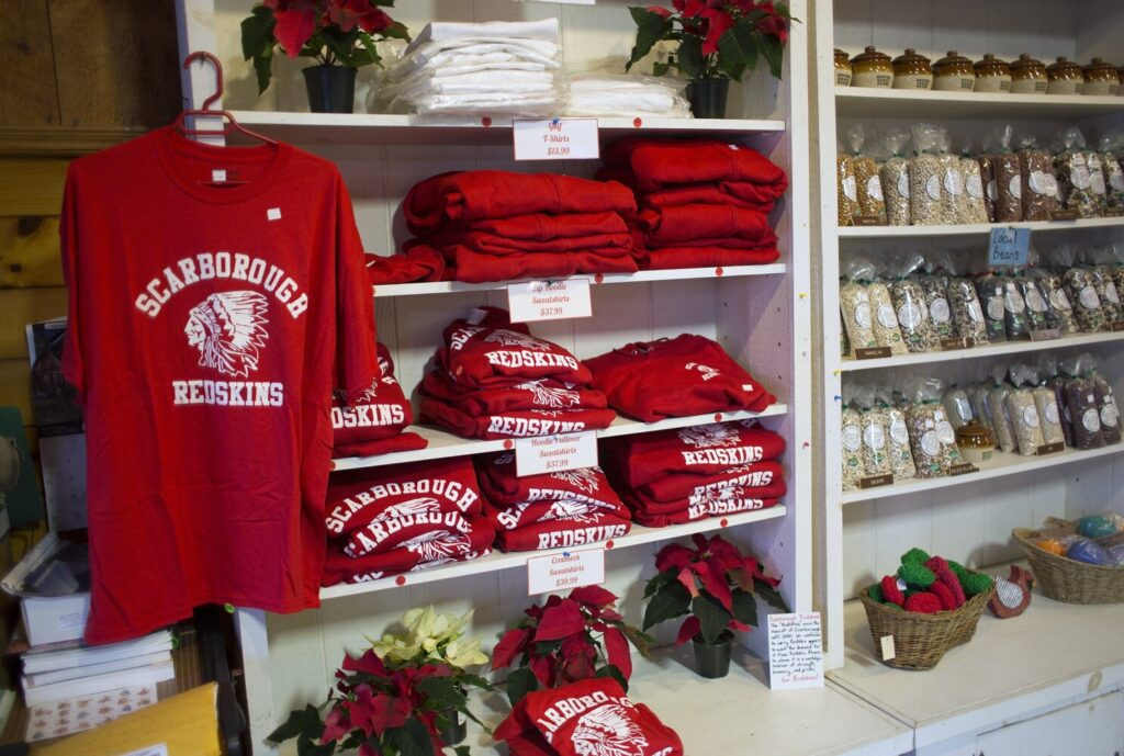 Flaherty's Family Farm store sells Scarborough Redskins apparel, and the owner says there is nothing negative about it.