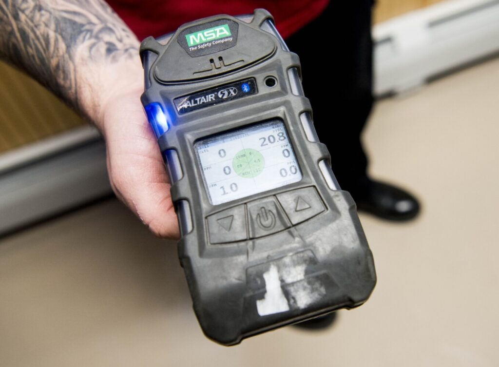 A hand-held gas meter used to detect different toxic gases in the air, including natural gas and propane, is seen Friday at the Waterville Fire Department. Officials there and at other area departments will soon have new meters for gas detection.