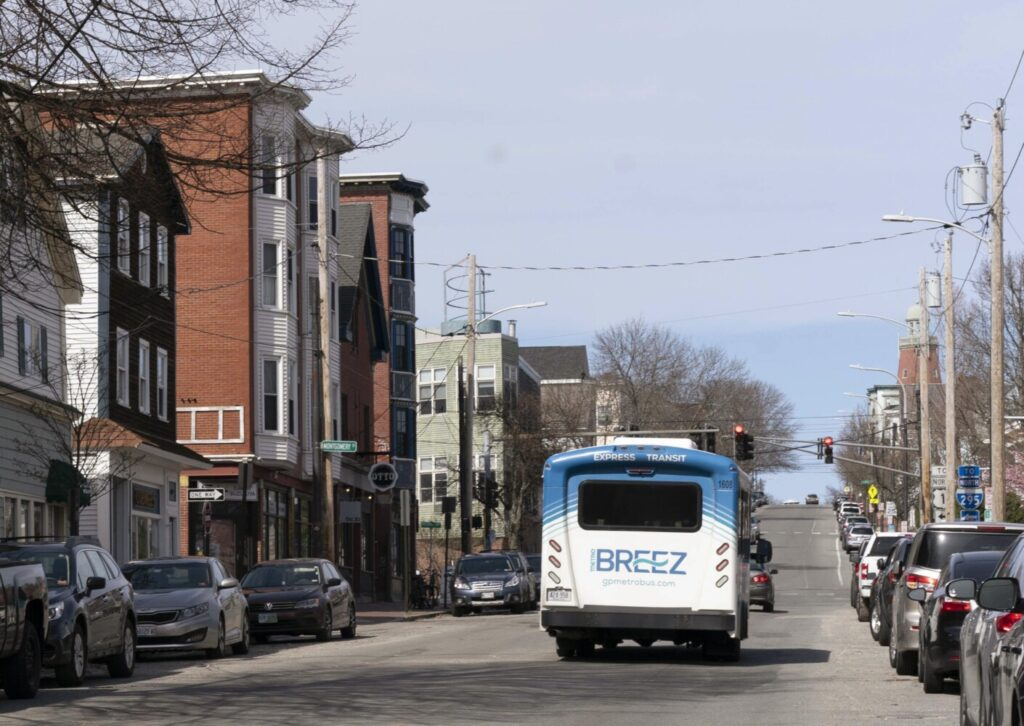 The Breez commuter bus makes its way along Congress Street in Portland. The service was expanded to Brunswick, Freeport and Yarmouth on an experimental basis three years ago and now will become a permanent part of the Breez operation.