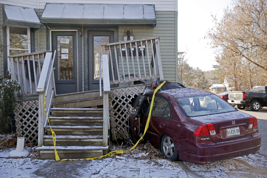 No one was injured Wednesday when a driver struck the front deck of the Sinful Kitchen restaurant on Brighton Avenue. Manager Craig Hastings said the driver reported his brakes went out when entering the driveway. The restaurant was not yet open for business.