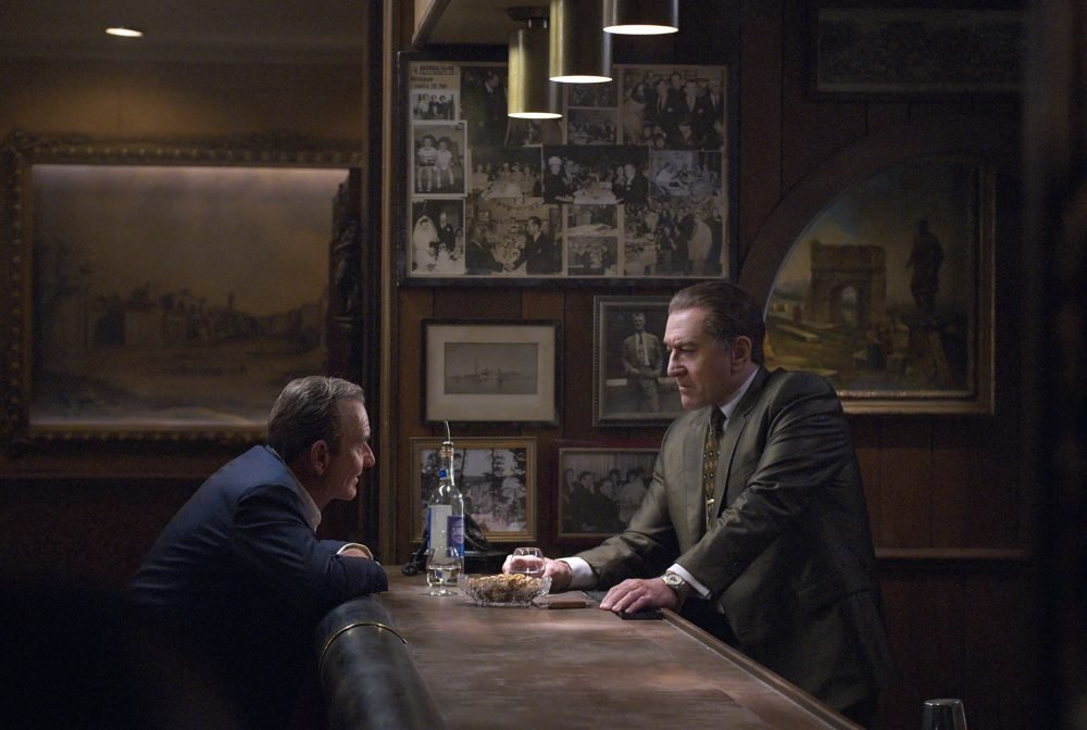 "This image released by Netflix shows Joe Pesci, left, and Robert De Niro in a scene from ""The Irishman."""