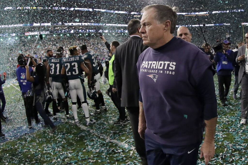 Coach Bill Belichick walked off the field on Feb. 4, 2018 after the Eagles beat the Patriots 41-33 to win the Super Bowl, but Belichick and New England were back a year later to win their sixth title, while Philadelphia is still trying to figure out how to get back to the big stage.