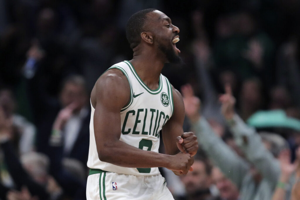 Boston Celtics guard Kemba Walker reacts after hitting a 3-pointer late in Boston's 116-106 win over Dallas on Monday in Boston.