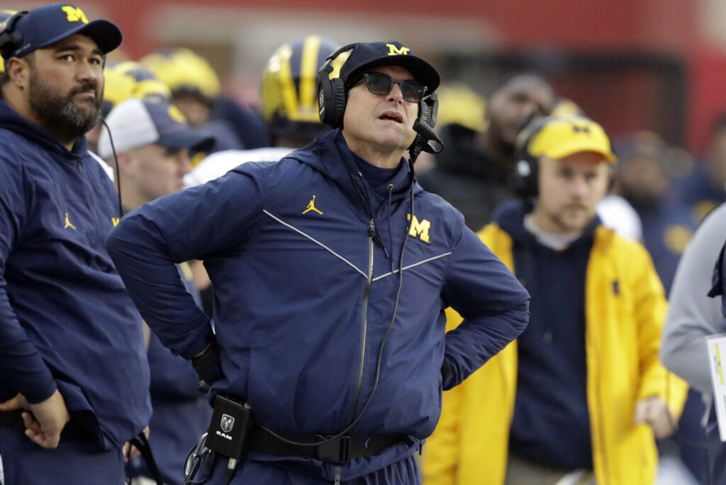 "Jim Harbaugh's job at Michigan is not in danger, but he has yet to win ""The Game."" He has is 0-4 against Ohio State and gets another shot at the Buckeyes, the No. 1 team in the College Football Playoff rankings, on Saturday."