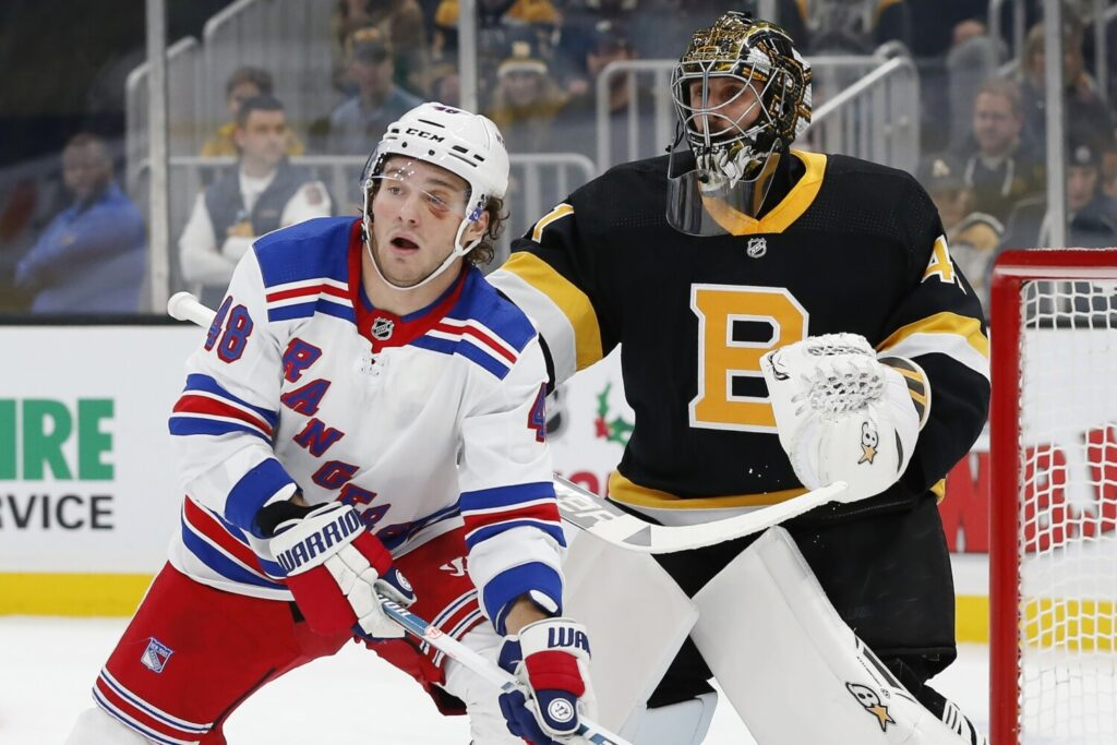Brendan Lemieux of the New York Rangers screens Boston goalie Jaroslav Halak during Friday's game in Boston,