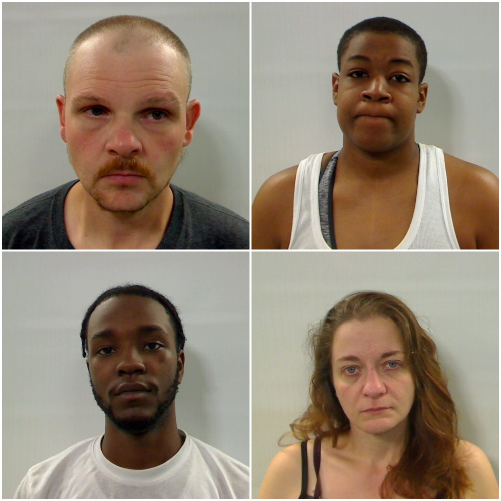 Jess Legendre, top left; Shalay Davis, top right; Cinque Witherspoon, bottom left; and Jennifer Nisby, bottom right, were arrested Thursday after Augusta police received a report of people being held against their at an apartment.