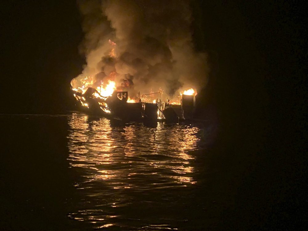 In this Sept. 2, 2019 file photo provided by the Santa Barbara County Fire Department, a dive boat is engulfed in flames off the Southern California Coast.
