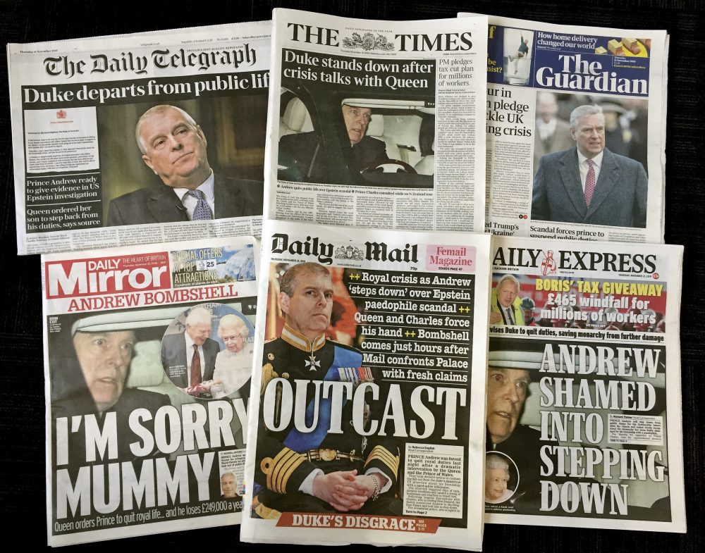 A combination photo of the front-pages of British newspapers on Thursday Nov. 21, 2019 headlining the scandal surrounding Britain's Prince Andrew.