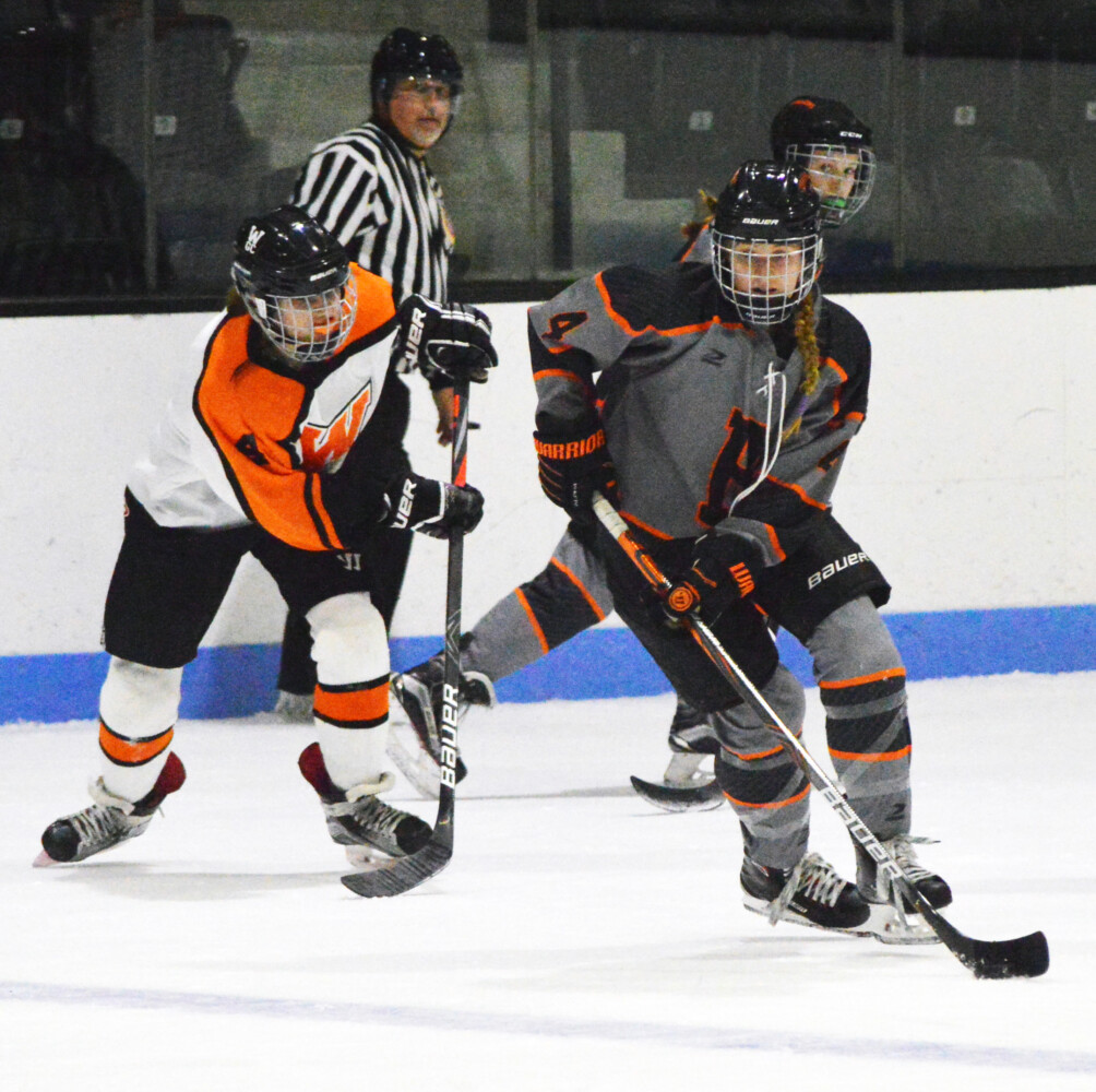 Brunswick's Greta White skates ahead of Winslow/Gardiner/Cony's Alayna Blier during the second period of a girls high school hockey game at Sidney J. Watson Arena at Bowdoin College in Brunswick earlier this season.