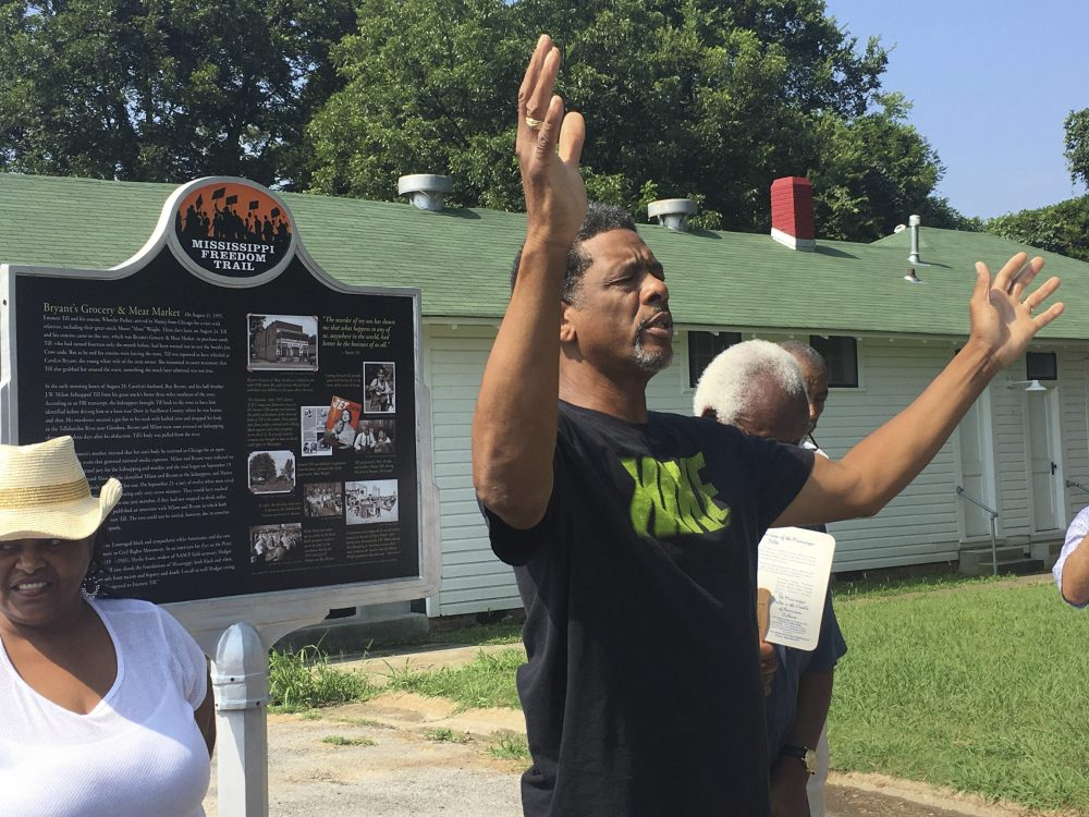 The Rev. Willie Williams of Raleigh United Methodist Church in Sumner, Miss., prays during the rededication of the Emmett Till marker on the Mississippi Freedom Trail at Money in 2017.