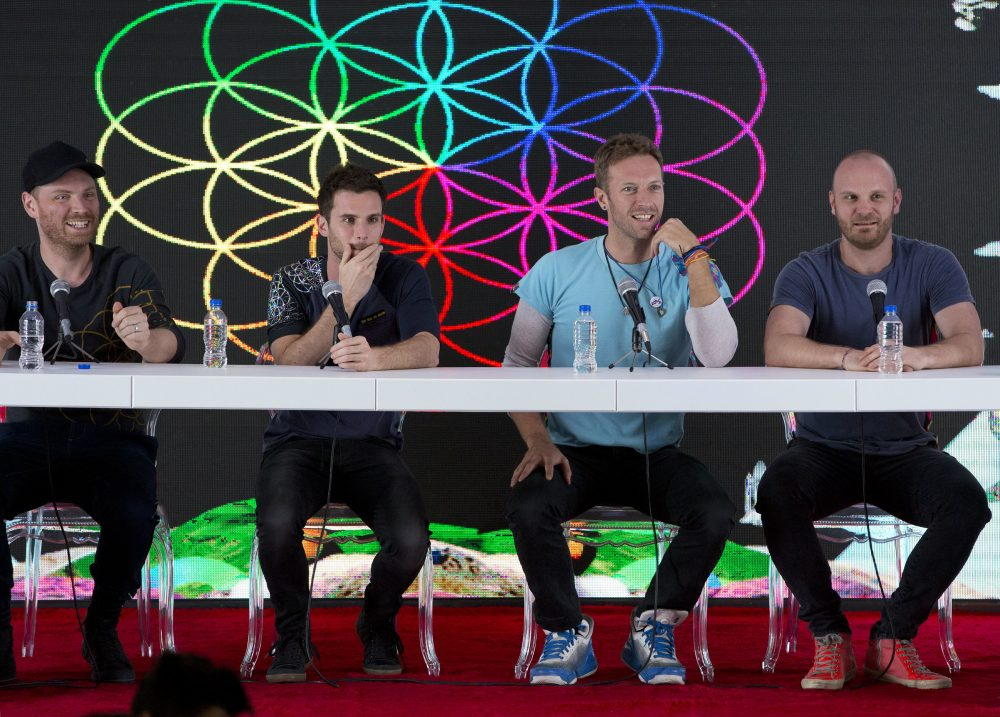Members of British band Coldplay, from left, Jonny Buckland, Guy Berryman, Chris Martin and Will Champion, participate in a press conference in April 2016 at Foro Sol in Mexico City.