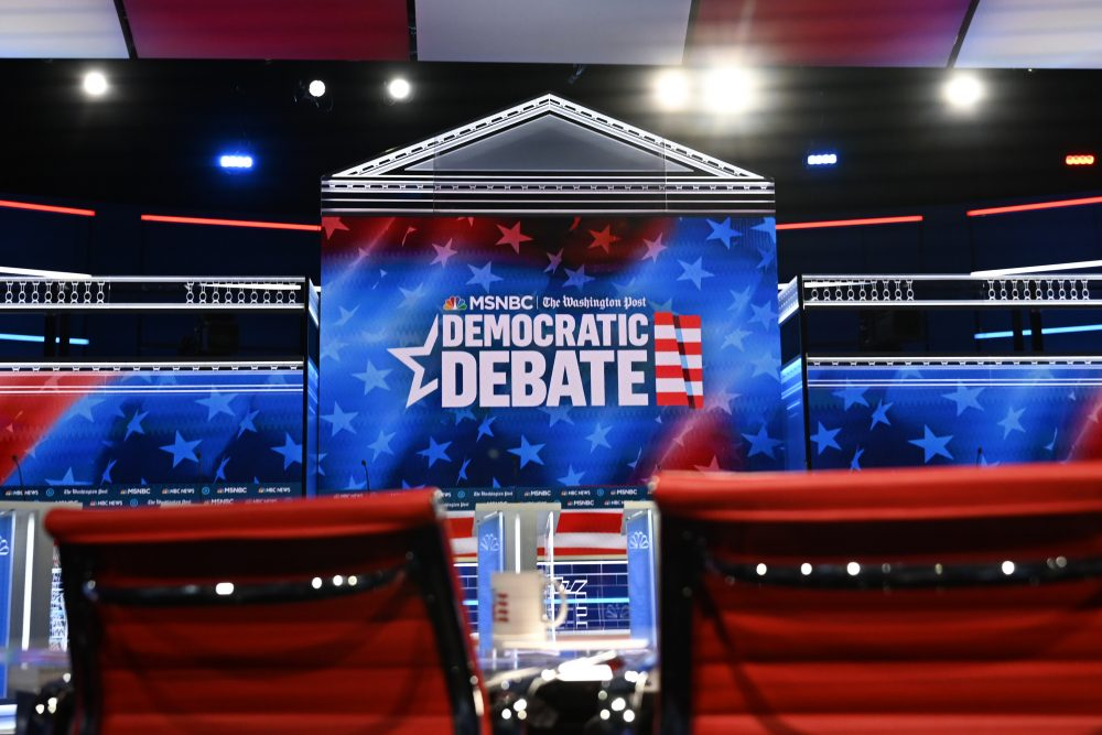 The stage for the Nov. 21 Democratic presidential primary debate is pictured. A labor dispute at the hosting college campus may lead to the cancellation of Thursday's scheduled debate.
