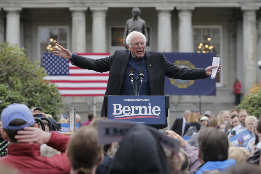Democratic presidential candidate Sen. Bernie Sanders, I-Vt., gestures during a rally Oct. 31  at the Statehouse in Concord, N.H.