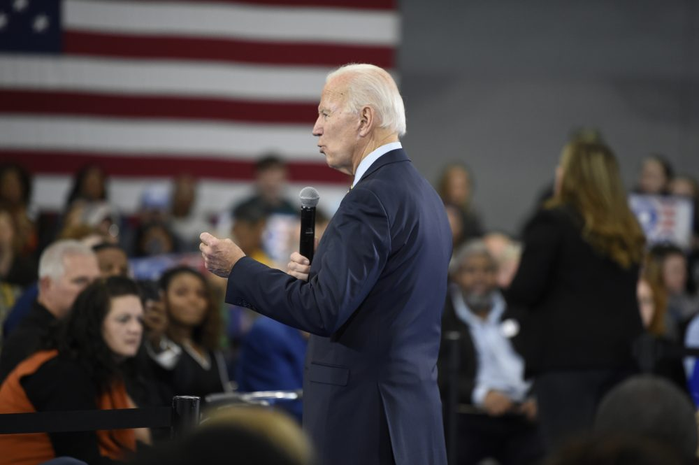 Former Vice President and Democratic presidential candidate Joe Biden speaks at a town hall Thursday at Lander University in Greenwood, S.C.