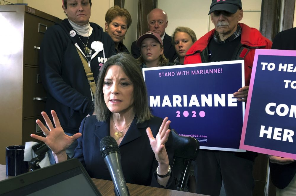 Democratic presidential candidate author Marianne Williamson, shown in November,  has laid off her entire Democratic presidential campaign staff,  a former adviser says.