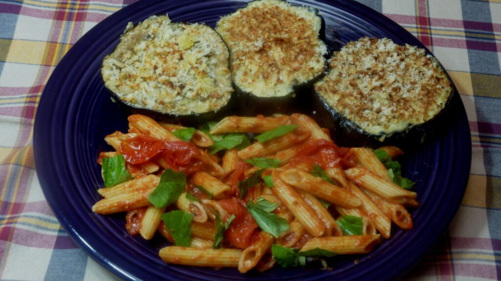 Crispy Eggplant with Penne Pasta and Garlic Tomato Sauce.