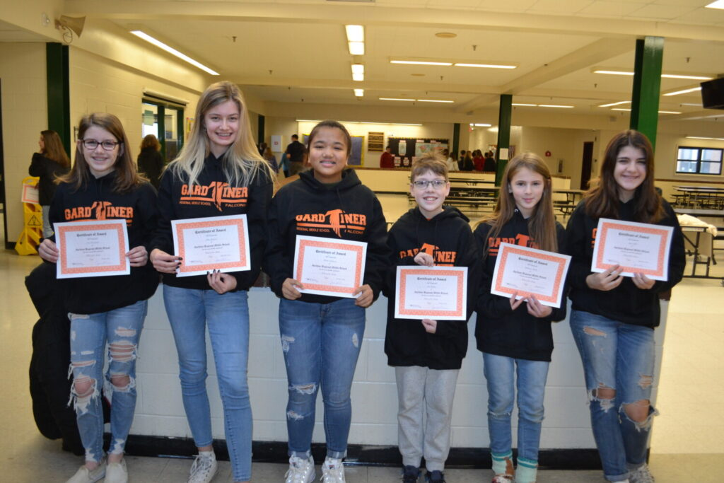 Gardiner Regional Middle School Falcons of the Month for September and October from left are Ada McCormick, Julia Jamison, Shaina Sablawan, Cole Hickey, Catherine Mansir and Sage Sculli.