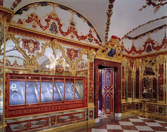 This undated photo provide by the State Art Collection in Dresden on Monday, Nov. 25, 2019, shows the Jewellery Room of the Green Vault with the display cases, left, showing the part of the collection that was affected by the robbery early Monday.