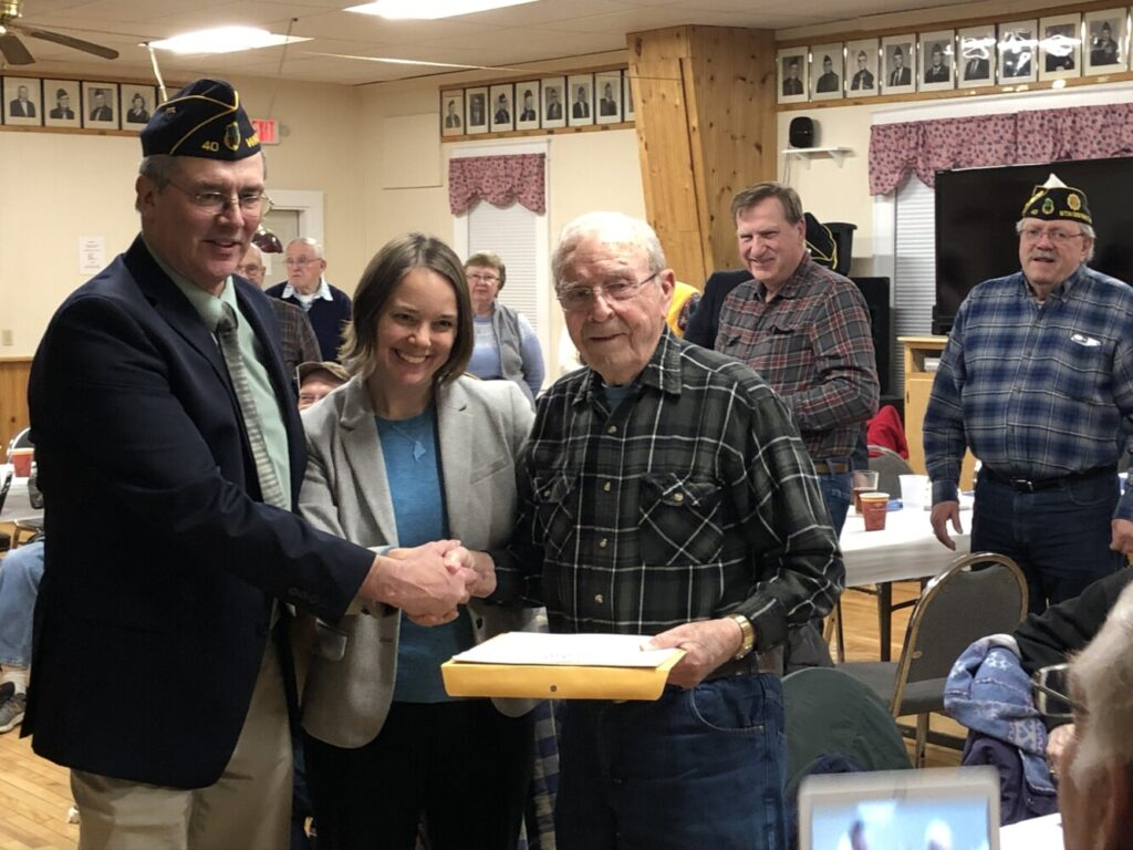 World War II veteran Clifford West was recognized for his service during a special ceremony at Winthrop American Legion Post 40 on Thursday. With West are Post Commander Colin Hewett, Commander and state Sen. Shenna Bellows (D-Manchester).