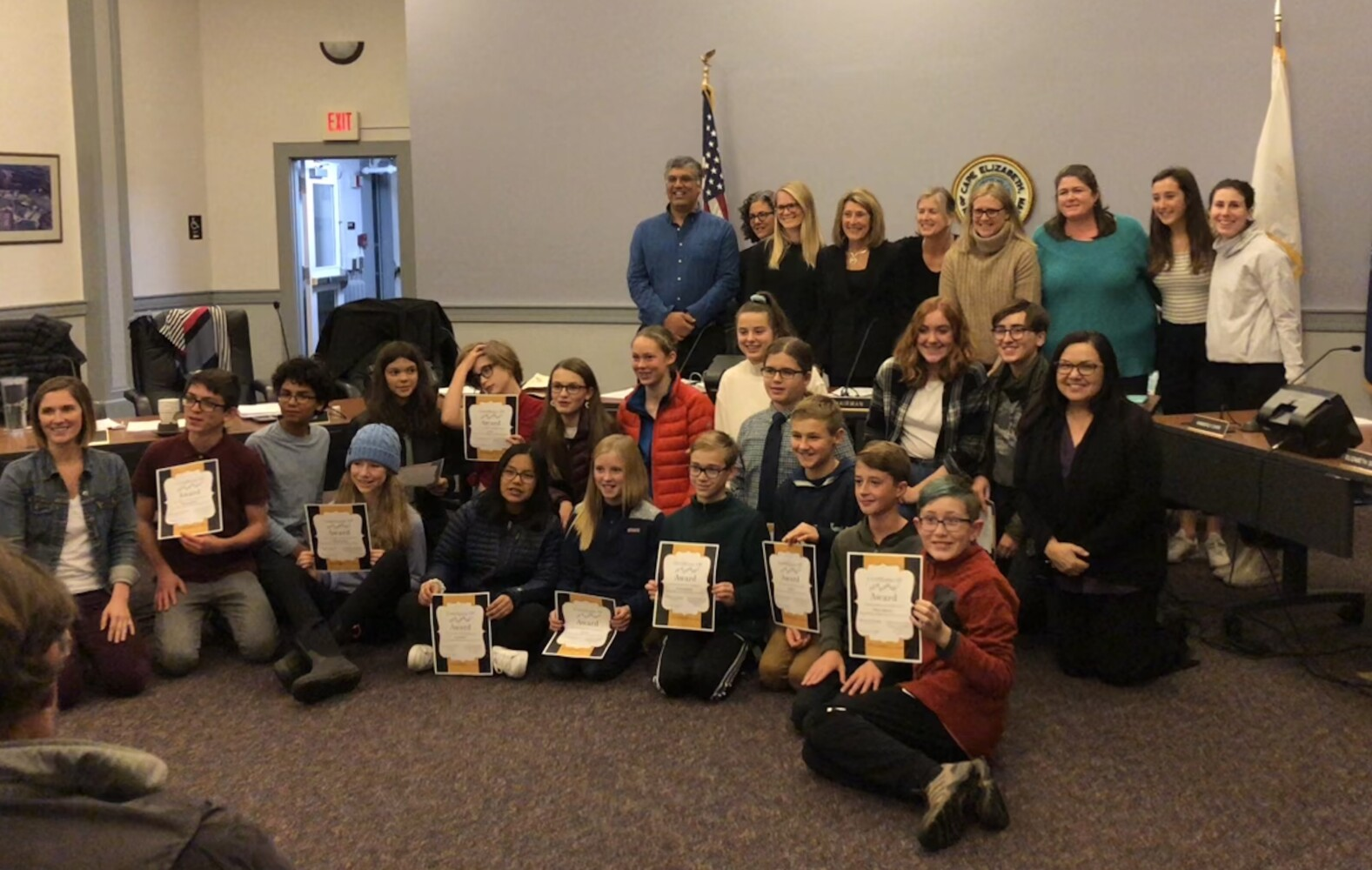 Cape Elizabeth Middle School and High School students and the school board celebrate the students' acceptance into this year's honors festivals.
