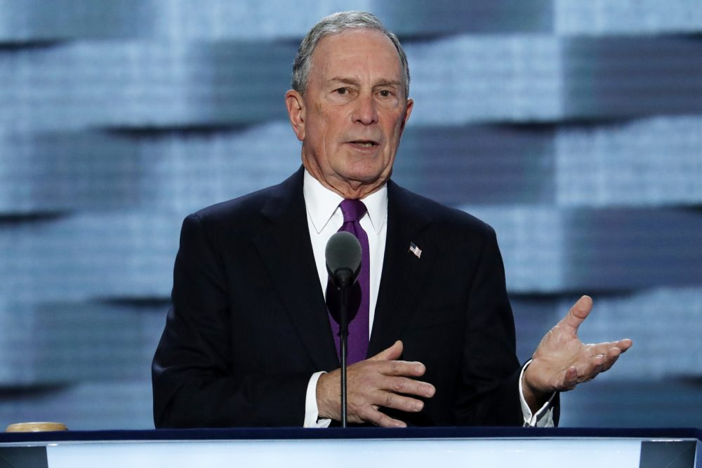 New York City Mayor Michael Bloomberg speaks July 27, 2016, during the third day of the Democratic National Convention in Philadelphia.