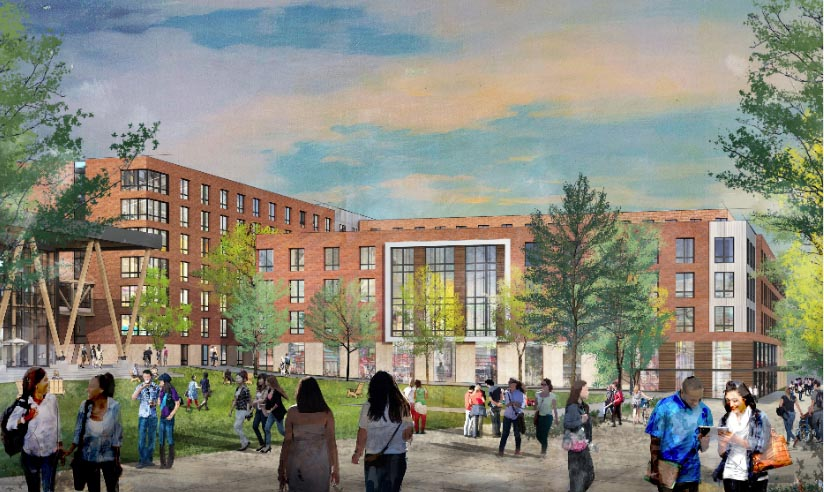 This is a rendering of a new dorm planned at the University of Southern Maine in Portland.