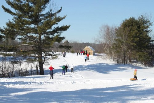 A winter scene of the popular Quarry Road facility in Waterville, where snowshoeing, Nordic skiing, sledding, racing and just being outdoors in the fresh fallen snow helps make the season exciting.