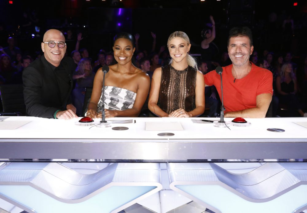 "From left, Howie Mandel, Gabrielle Union, Julianne Hough, Simon Cowell on the set of ""America's Got Talent."""